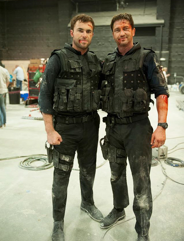 Gerard Butler With His Stunt Double Airon Armstrong On The Set Olympus Has Fallen