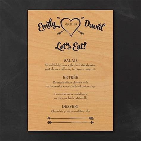 Tribute to Love Wood Menu Cards Your wedding menu printed