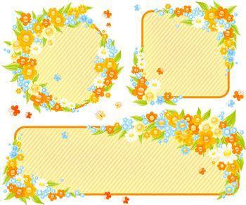Cute Little Flower Decoration Frame Vector Graphic