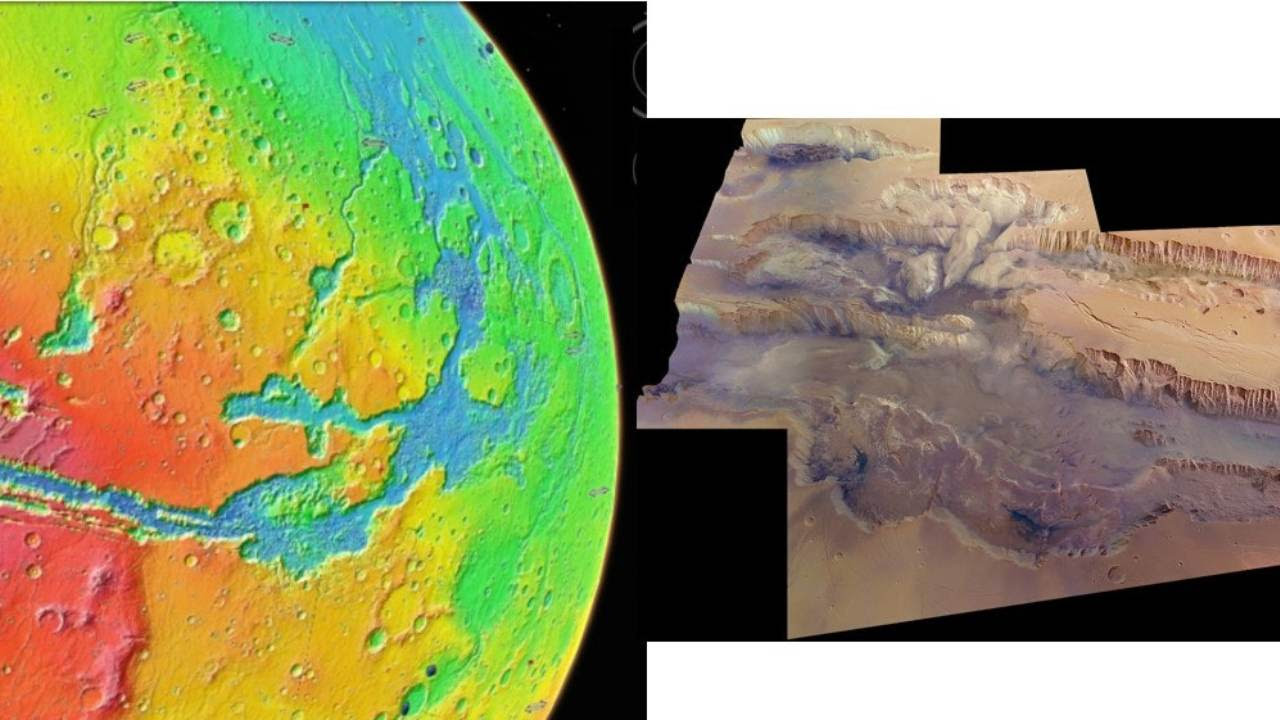 Valles Marineris seen in a colour-coded topographic view as if from 5,000 km above the surface (left), and imaged by the High Resolution Stereo Camera on Esa's Mars Express (right). Google Earth and NASA/USGS/ESA/DLR/FU Berlin (G. Neukum)