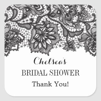 Vintage Lace Bridal Shower Favor Sticker