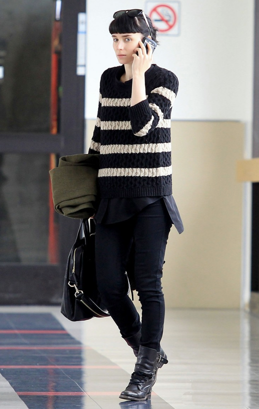 ROONEY MARA AIRPORT LOOK STRIPED CABLE KNIT SWEATER BLACK CREAM BLACKSKINNY COMBAT BOOTS LACE UP GIVENCHY NIGHTINGALE SUNGLASSES OLVE GREEN COAT--JUST JARED