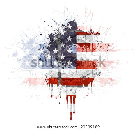 Modern Grunge Splatter Design With American Flag, Dollar Symbol ...