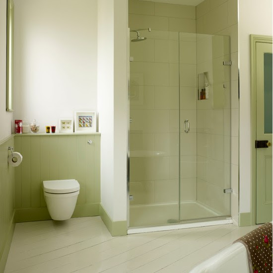 Green bathroom with alcove shower | Country decorating ...