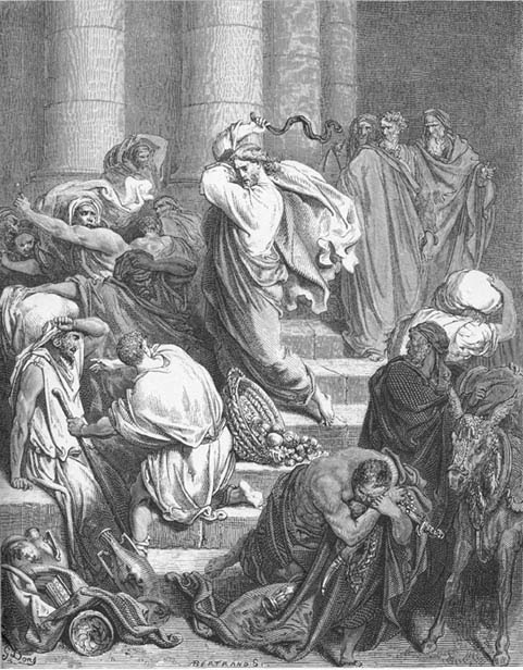 Jesus driving moneychangers & merchants from the Temple.