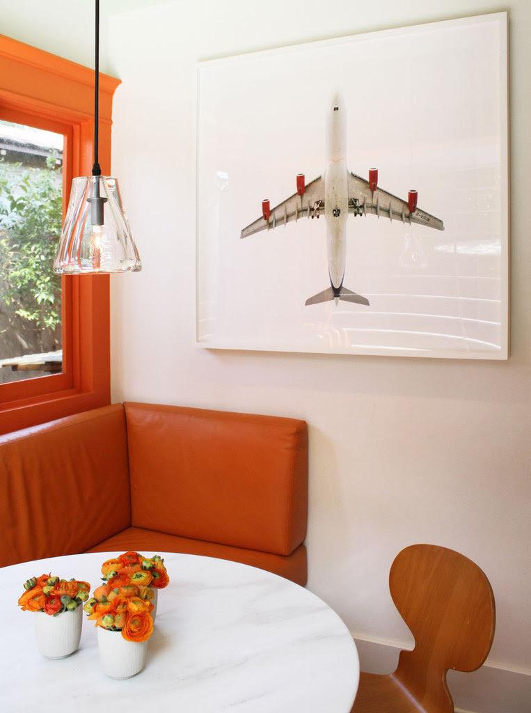 Orange & White Dining Area