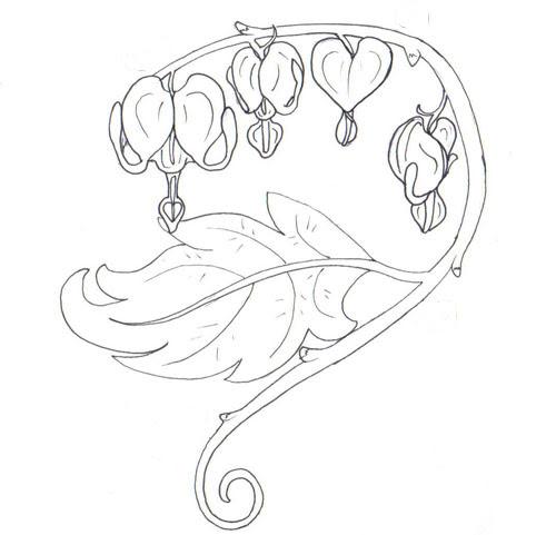 Bleeding hearts - flower tattoo