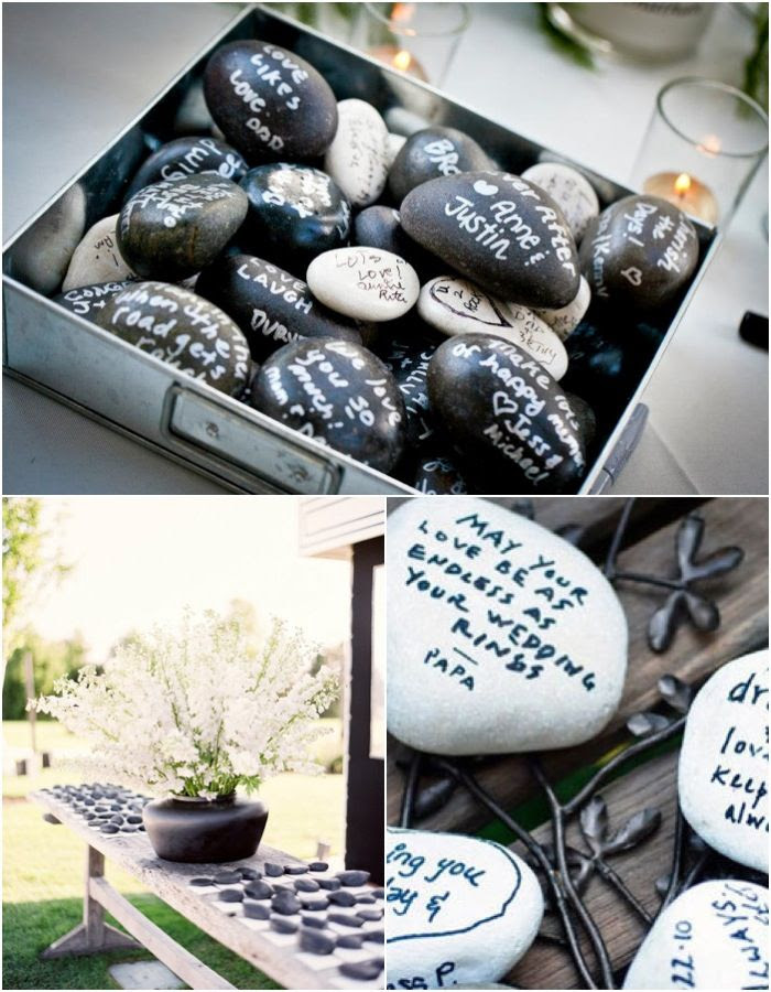 Get Creative: Wishing Stones Wedding Guest Book. http://www.modwedding.com/2013/12/12/get-creative-wishing-stones-wedding-guest-book/