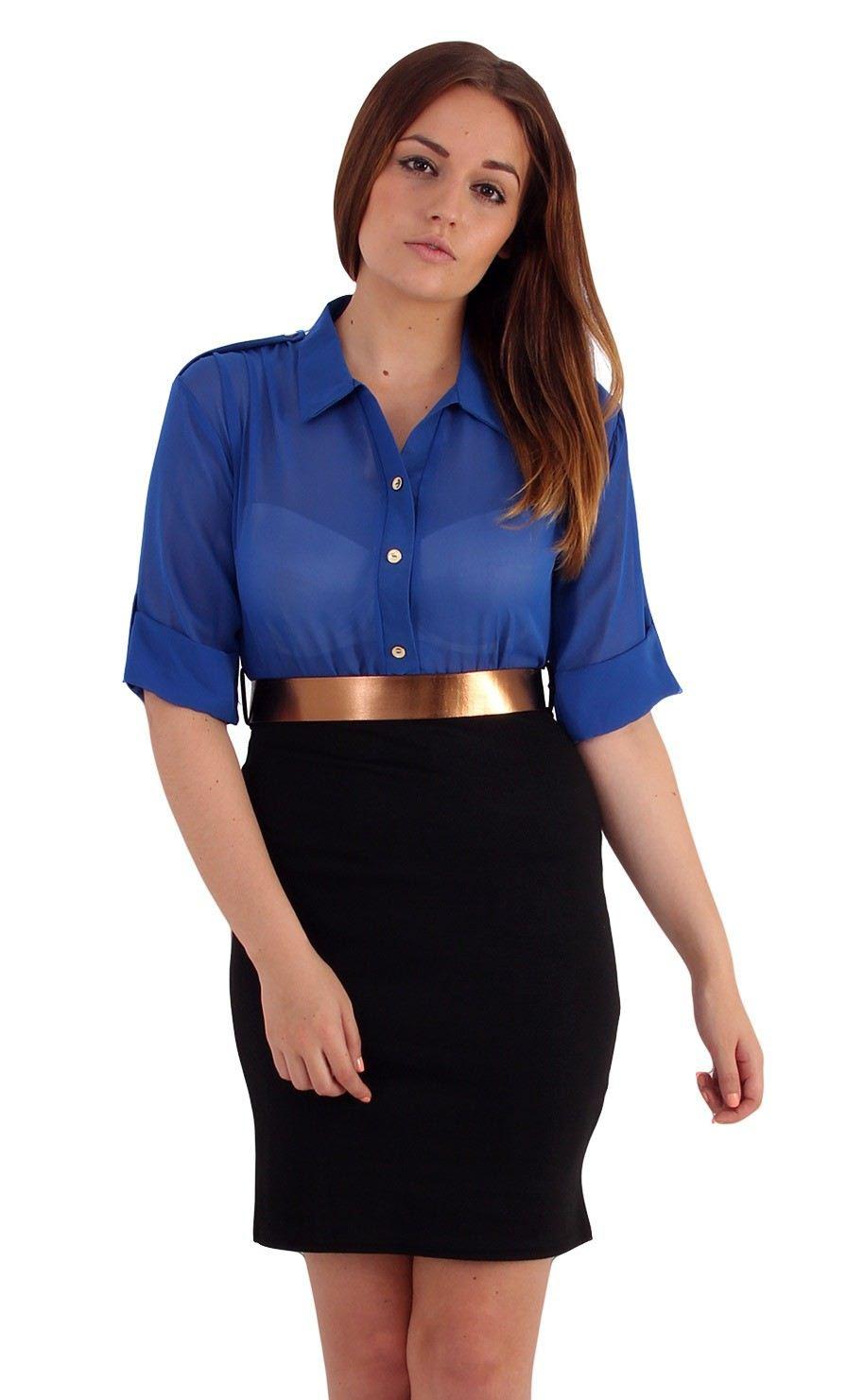 ladies 2 in 1 office wear turn up sleeve chiffon top mini