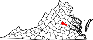 Map of Virginia highlighting Goochland County