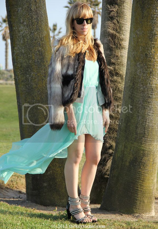 Lanvin for H&M faux fur coat, Love aqua chiffon dress, Jeffrey Campbell Mel heels, California fashion blog, Los Angeles street style