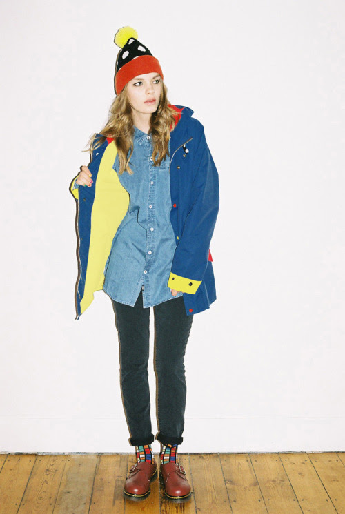 Lazy Oaf Style File featuring: Polka Dot Bobble Hat Anorak  Denim Shirt Snazzy socks (stylists own) Doctor Martin Brogues from Beyond Retro.