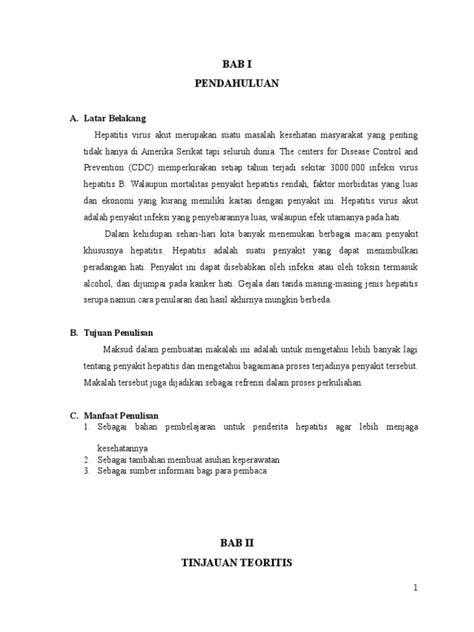 Laporan Lengkap Asuhan Keperawatan Tn. N Dengan Hepatitis Akut