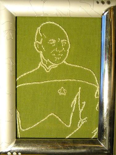 captain picard embroidered portrait