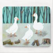 Three White Geese mousepad