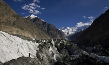 Asian glaciers : Hopar glacier in the Central Hunza Region in Pakistan