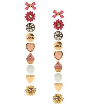 Image 1 of River Island Set Of 9 Stud Earrings