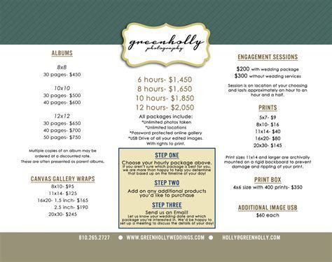 Wedding Photographer Price List Detroit   green holly