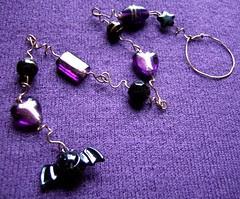 Purple Bat Dangle - a beaded Halloween decoration