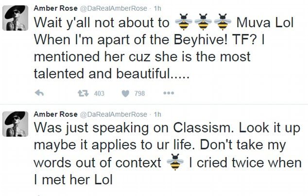 Clarification: The 32-year-old model wanted to make sure her words weren't misconstrued as the Bey-Hive went after her on social media