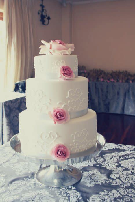 Wedding cake silver and dusty pink   cake by Rebecca