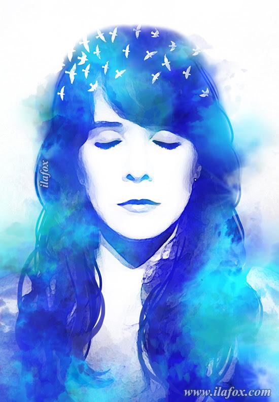 blue blur, provérbio chinês, pássaros, ditado sobre tristeza, retrato artístico, azul, aquarela, olhos fechados, retrato personalizado, retrato bonito, ila fox