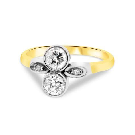 18ct Yellow Gold and Platinum Two Stone Diamond Vintage