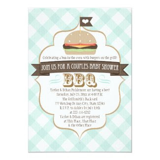 "Aqua Burger Couples BBQ Baby Shower Invitations 5"" X 7"" Invitation Card"