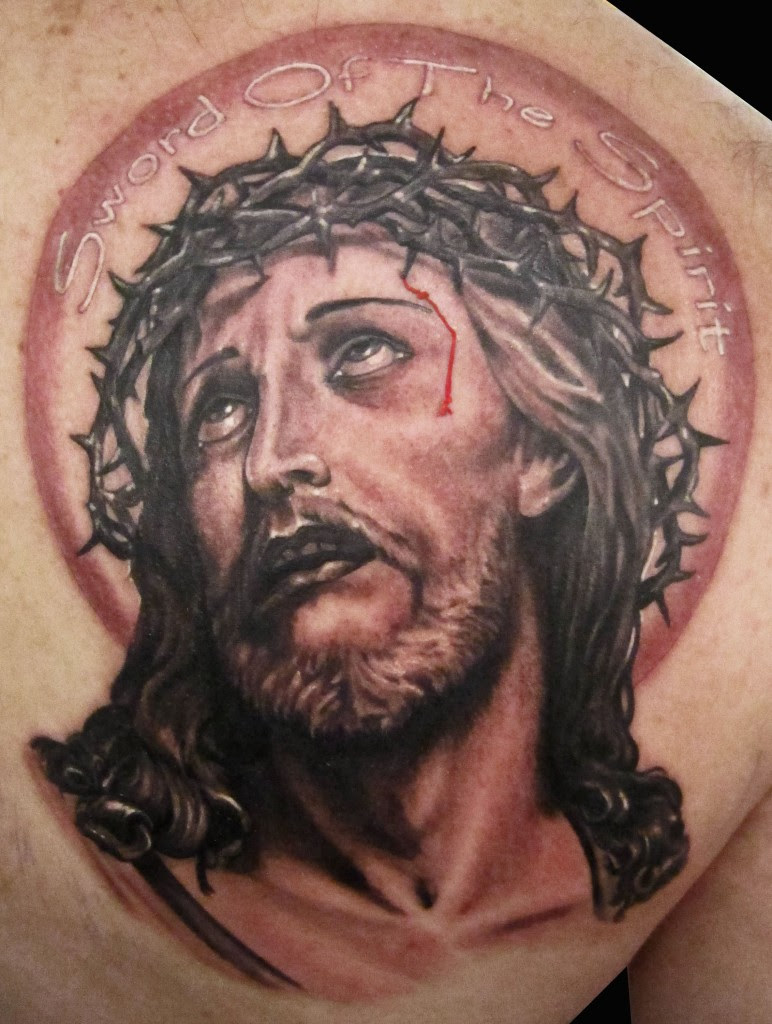 Right Back Shoulder Grey Ink Jesus Head Tattoo