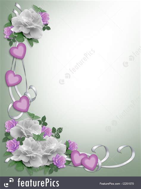 Templates: Wedding Invitation Border White Roses   Stock