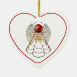 Personalize: Filigree Merry Christmas Angel Star Double-Sided Heart Ceramic Christmas Ornament