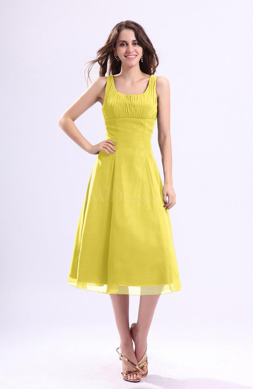 pale yellow simple aline square sleeveless zip up wedding