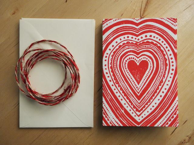 Card Set - Red Heart Block Print
