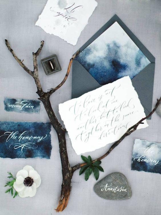 Aquarell indigo und Grau Hochzeit Briefpapier für ein Küsten-Hochzeit