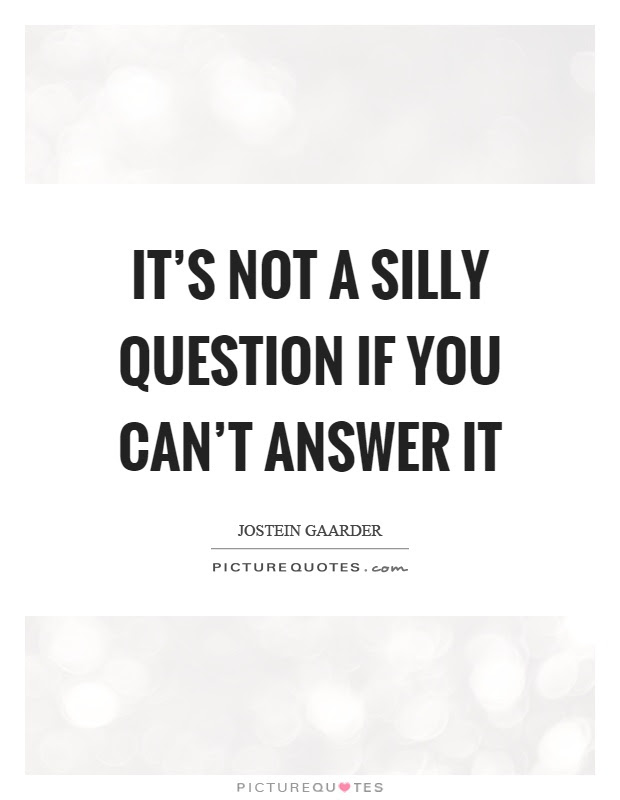 It's not a silly question if you can't answer it | Picture ...