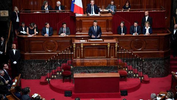 Emmanuel Macron, presidente de Francia, durante su intervención en Versalles