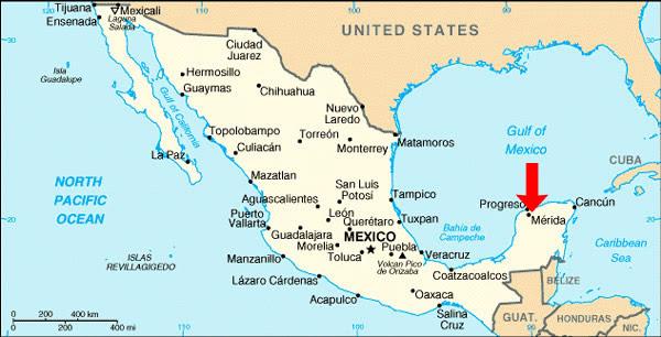 Chuburna Puerto Mexico Map   World Map Gray