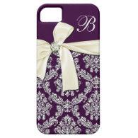 Elegant Purple Silver Damask Diamond Bow Monogram Case For iPhone 5/5S