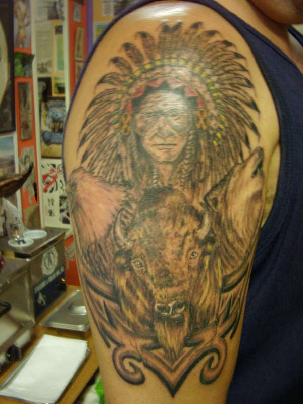Indian Chief With Eagle Wolf And Bull Tattoo On Half Sleeve