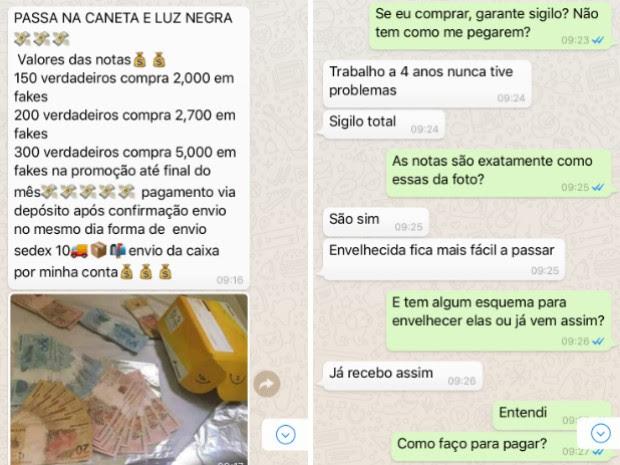Homem oferece notas falsas em páginas no Facebook (Foto: Reprodução)