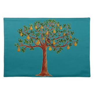 P in a Pear Tree Placemats -pick your bkgrd color!