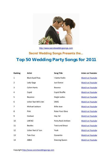 Top 50 wedding songs for 2011