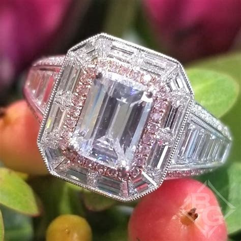Simon G. Emerald Cut Two Tone Halo Baguette Diamond