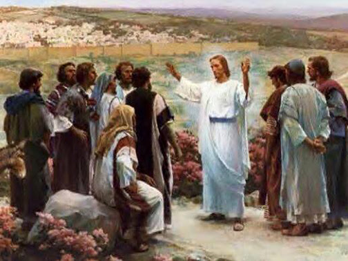 [Painting of Jesus talking to His disciples]