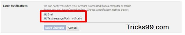 Đăng nhập Thông báo-Cài đặt Bảo mật - tài khoản facebook bảo mật