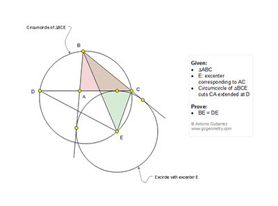 Geometry Problem 1209: Triangle, Circle, Excircle, Excenter, Circumcircle, Congruence