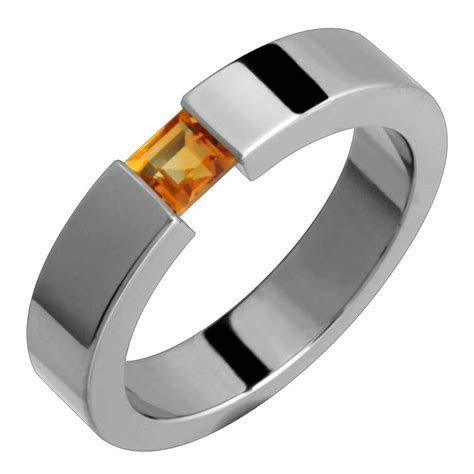 Titanium Ring Citrine Tension Set Comfort Fit 5mm Wide