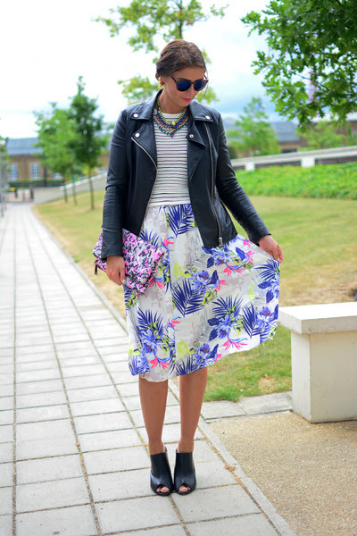 white Dorothy Perkins skirt - black Forever 21 jacket