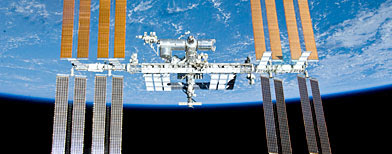 This image provided by NASA shows the International Space Station in this image photographed by an STS-132 crew member on space shuttle Atlantis after the station and shuttle began their post-undocking relative separation Sunday May 23, 2010. (AP photo/NASA)
