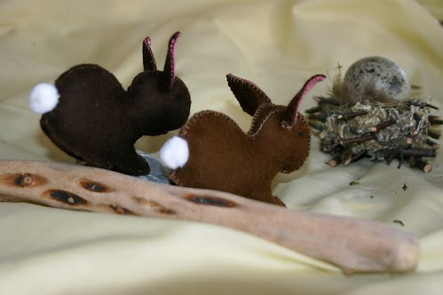 Two Felt Rabbits Hopping Away